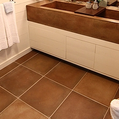 large concrete tiles stained concrete