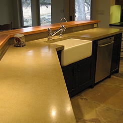 Kitchen polished concrete countertop