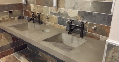 gray concrete countertop