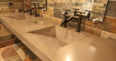 concrete bathroom counter