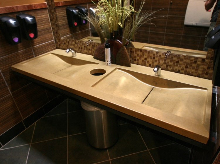 Countertops Sinks Restrooms Riverbed Concrete - Commercial bathroom sinks and counters