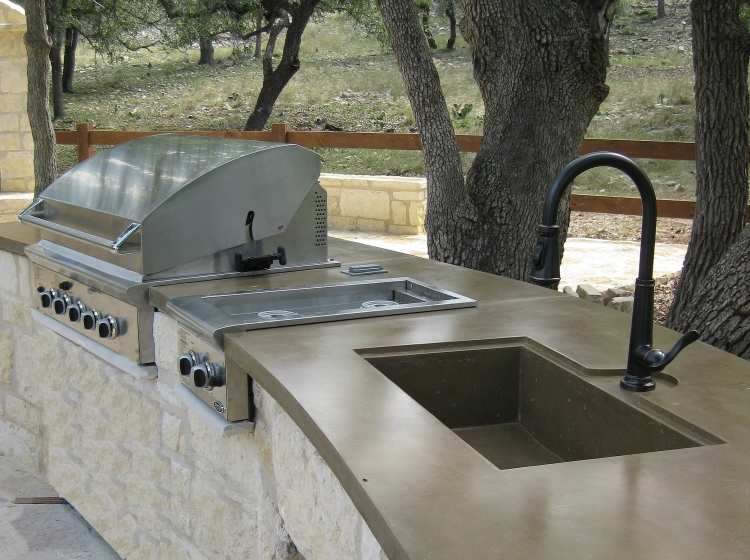 Exterior kitchen concrete countertops riverbed concrete for Outdoor kitchen counter with sink