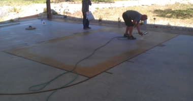 stained and sealed basketball court