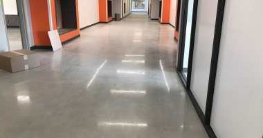 polished concrete elementary hall