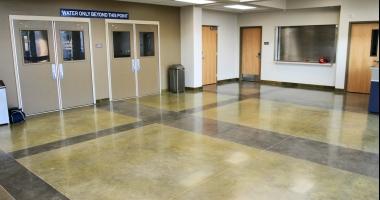 polished concrete school gym