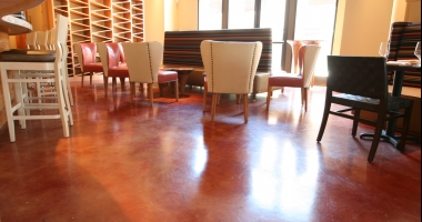 stained concrete flooring restaurant